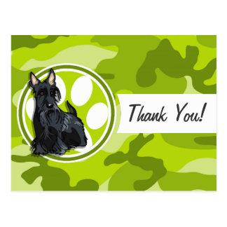 Schnauzer; bright green camo, camouflage postcard