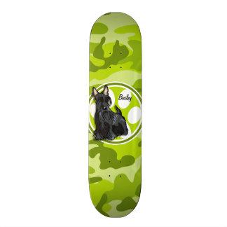Schnauzer; bright green camo, camouflage custom skateboard