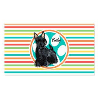 Schnauzer Bright Rainbow Stripes Business Card Templates