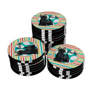 Schnauzer; Bright Rainbow Stripes Poker Chips