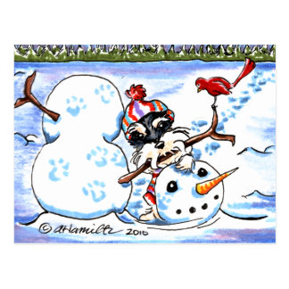 Schnauzer Building Snowman Off-Leash Art™ Postcard