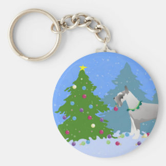 Schnauzer Decorating Christmas Tree in the forest Basic Round Button Key Ring