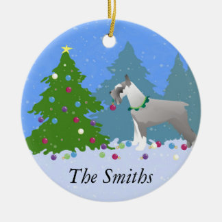 Schnauzer Decorating Christmas Tree in the forest Christmas Ornament