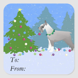 Schnauzer Decorating Christmas Tree in the forest Square Sticker