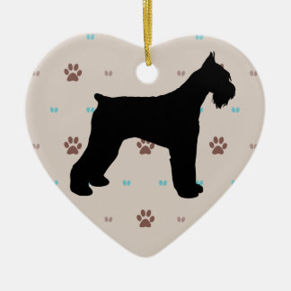 Schnauzer Double-Sided Heart Ceramic Christmas Ornament