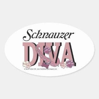 Schnauzer DIVA Oval Sticker