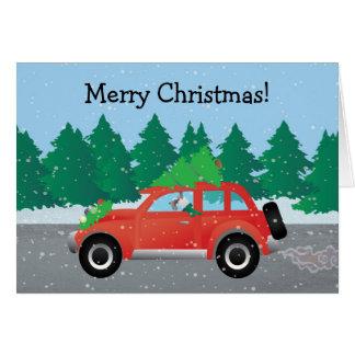 Schnauzer Dog Driving Christmas Car Card