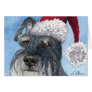 Schnauzer dog wearing Santa hat Card