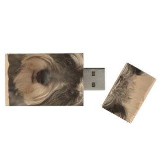Schnauzer Dog Wood USB 2.0 Flash Drive