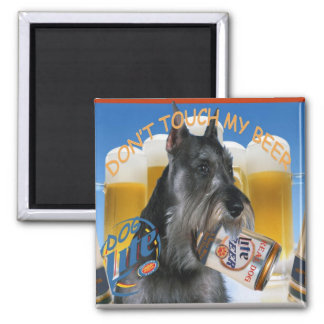 Schnauzer Don't Touch My Beer Fridge Magnets