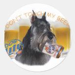 Schnauzer Don't Touch My Beer Round Sticker
