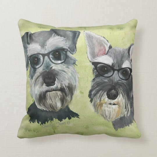 Schnauzer Groovy Glasses Throw Pillow