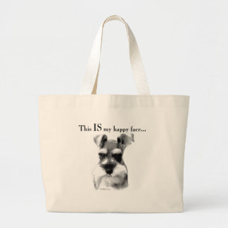 Schnauzer Happy Face Large Tote Bag