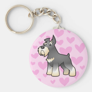 Schnauzer Love Basic Round Button Key Ring