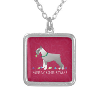 Schnauzer Merry Christmas Design Personalized Necklace