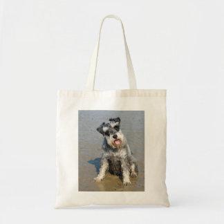 Schnauzer miniature dog cute photo at the beach tote bags