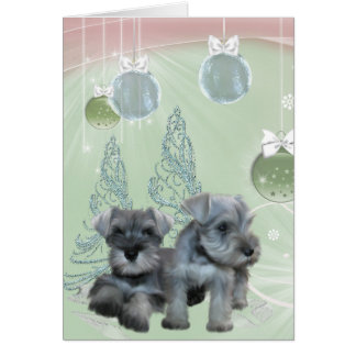 Schnauzer Puppies Pink & Green Christmas Card
