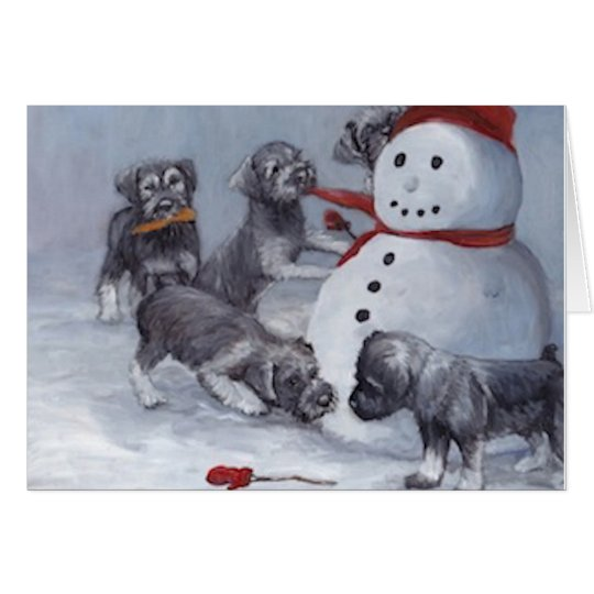 Schnauzer Pups and Snowman Dog Art Christmas Card