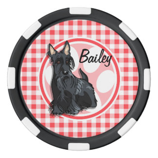 Schnauzer; Red and White Gingham Poker Chips