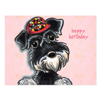 Schnauzer Red Cap Off-Leash Art™ Postcard
