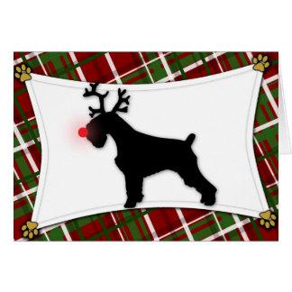 Schnauzer Reindeer Christmas Card