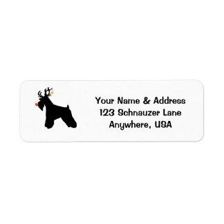 Schnauzer Reindeer Return Address Label