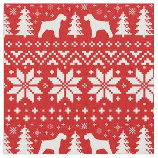 Schnauzer Silhouettes Christmas Pattern Fabric