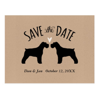 Schnauzer Silhouettes Wedding Save the Date Postcard