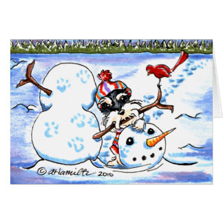 Schnauzer Snowman Art Christmas Card