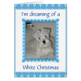 Schnauzer White Christmas Card