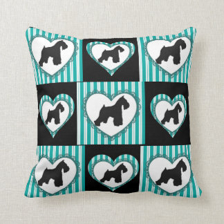 Schnauzers Hearts and Stripes Pillow