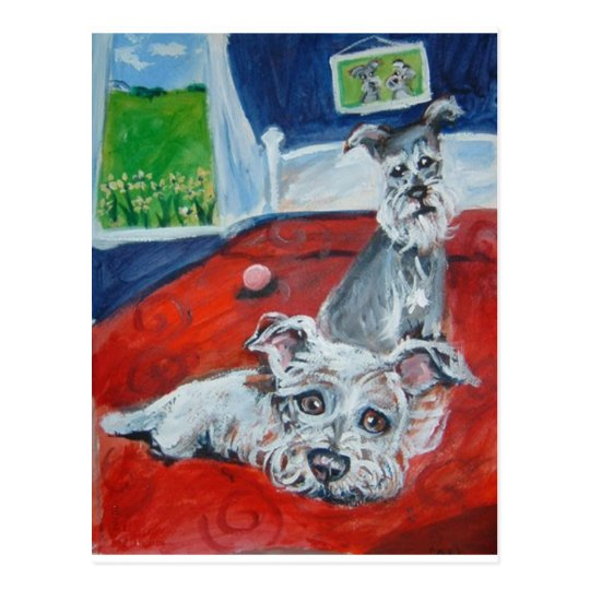 schnauzers on bed postcard