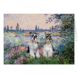Schnauzers (two) - By the Seine Card