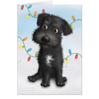 Schnoodle (Black) Christmas Card