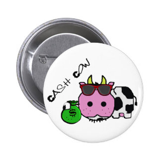Schnozzle Cow Cash Cow Cartoon w Money Bag Pin