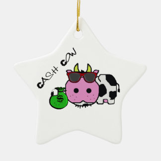 Schnozzle Cow Cash Cow Cartoon w/Money Bag Ceramic Star Decoration