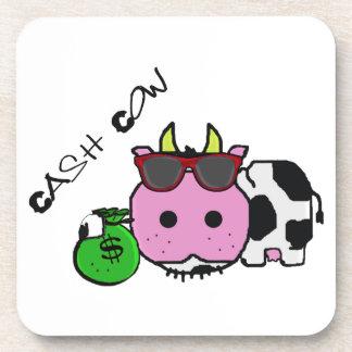 Schnozzle Cow Cash Cow Cartoon w Money Bag Drink Coaster