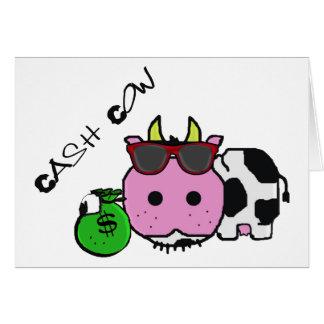 Schnozzle Cow Cash Cow Cartoon w/Money Bag Greeting Card