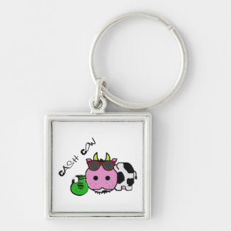Schnozzle Cow Cash Cow Cartoon w/Money Bag Silver-Colored Square Key Ring