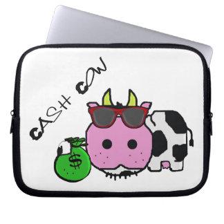 Schnozzle Cow Cash Cow Cartoon w Money Bag Computer Sleeve