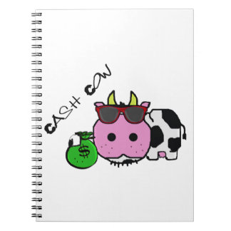 Schnozzle Cow Cash Cow Cartoon w Money Bag Note Books