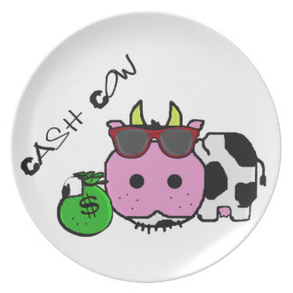Schnozzle Cow Cash Cow Cartoon w/Money Bag Party Plate