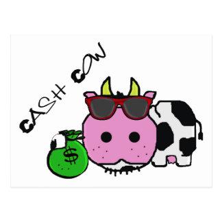 Schnozzle Cow Cash Cow Cartoon w/Money Bag Postcard