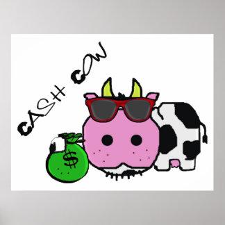 Schnozzle Cow Cash Cow Cartoon w/Money Bag Poster