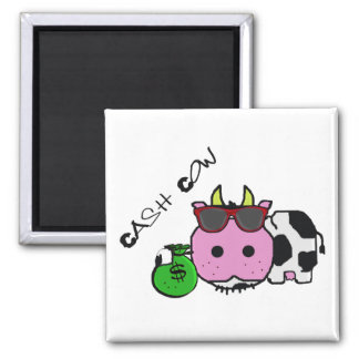 Schnozzle Cow Cash Cow Cartoon w/Money Bag Square Magnet