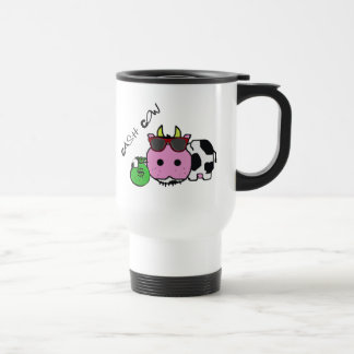 Schnozzle Cow Cash Cow Cartoon w/Money Bag Stainless Steel Travel Mug
