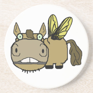 Schnozzle Horse Horsefly Cartoon Beverage Coaster