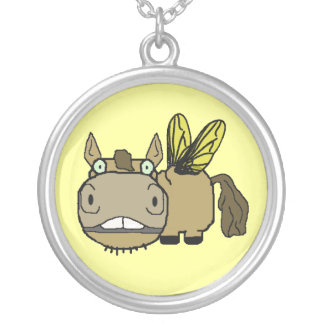 Schnozzle Horse Horsefly Cartoon Round Pendant Necklace