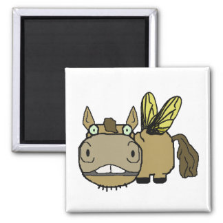 Schnozzle Horse Horsefly Cartoon Square Magnet