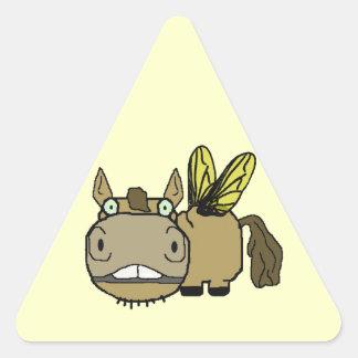 Schnozzle Horse Horsefly Cartoon Triangle Sticker